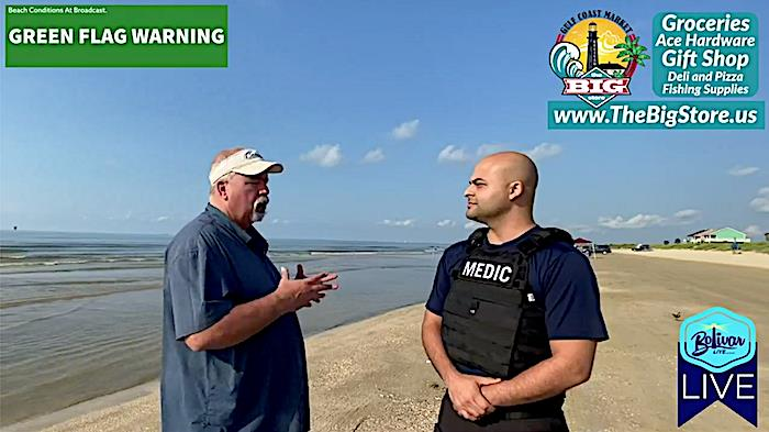 Beach Safety In Crystal Beach, Texas, With Crystal Beach ESD #2 Paramedic and Bolivar Live.