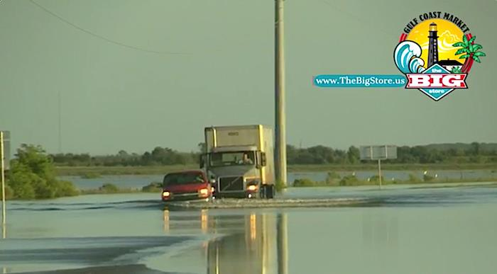 7am Update, Despite TxDot Barricades Many Brave Flood Water On Hwy 124 In Chambers County.