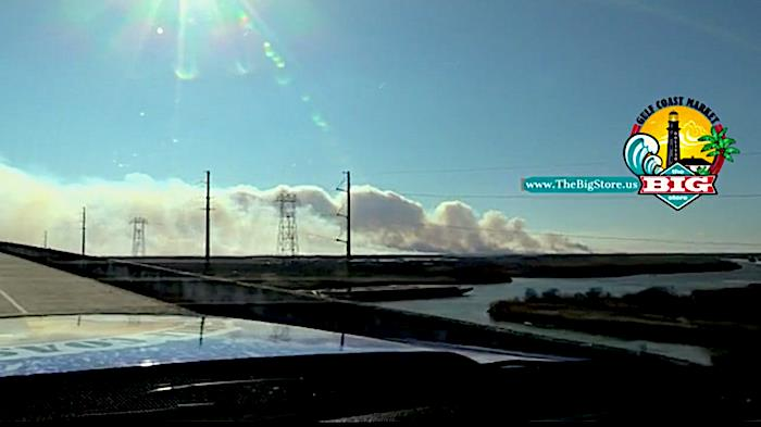 Fire In The Marsh Covers East End Of Bolivar Peninsula With Smoke!