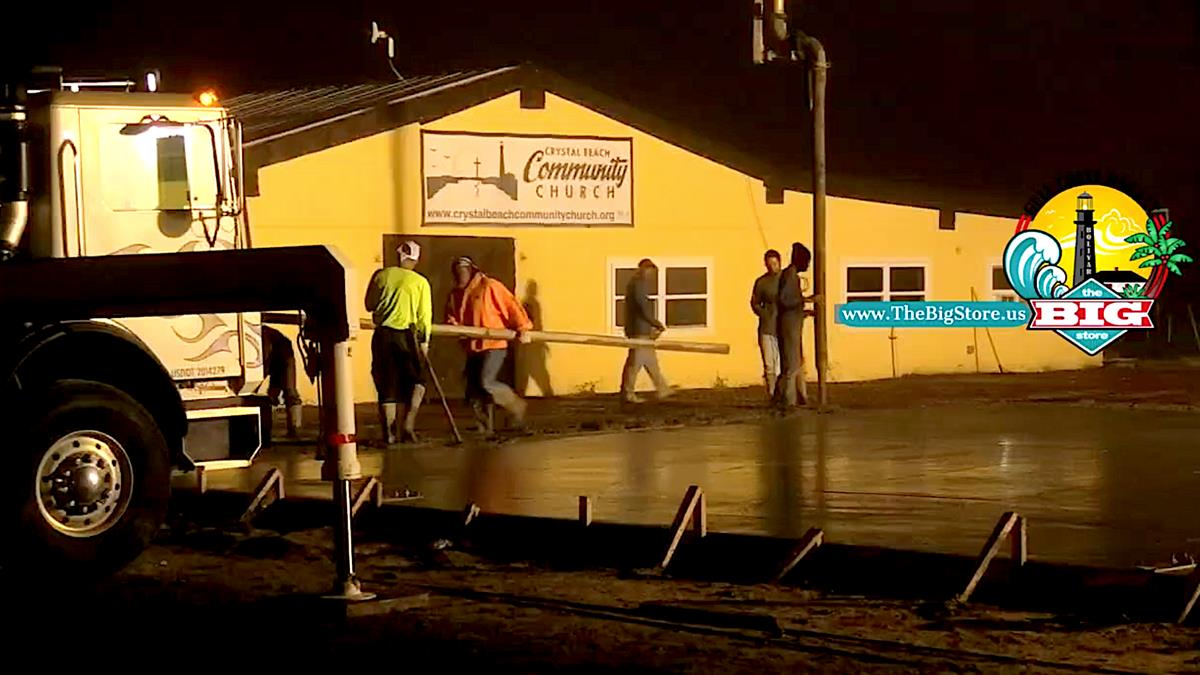 It's An Early Morning Pour At Crystal Beach Community Church On Bolivar Peninsula!