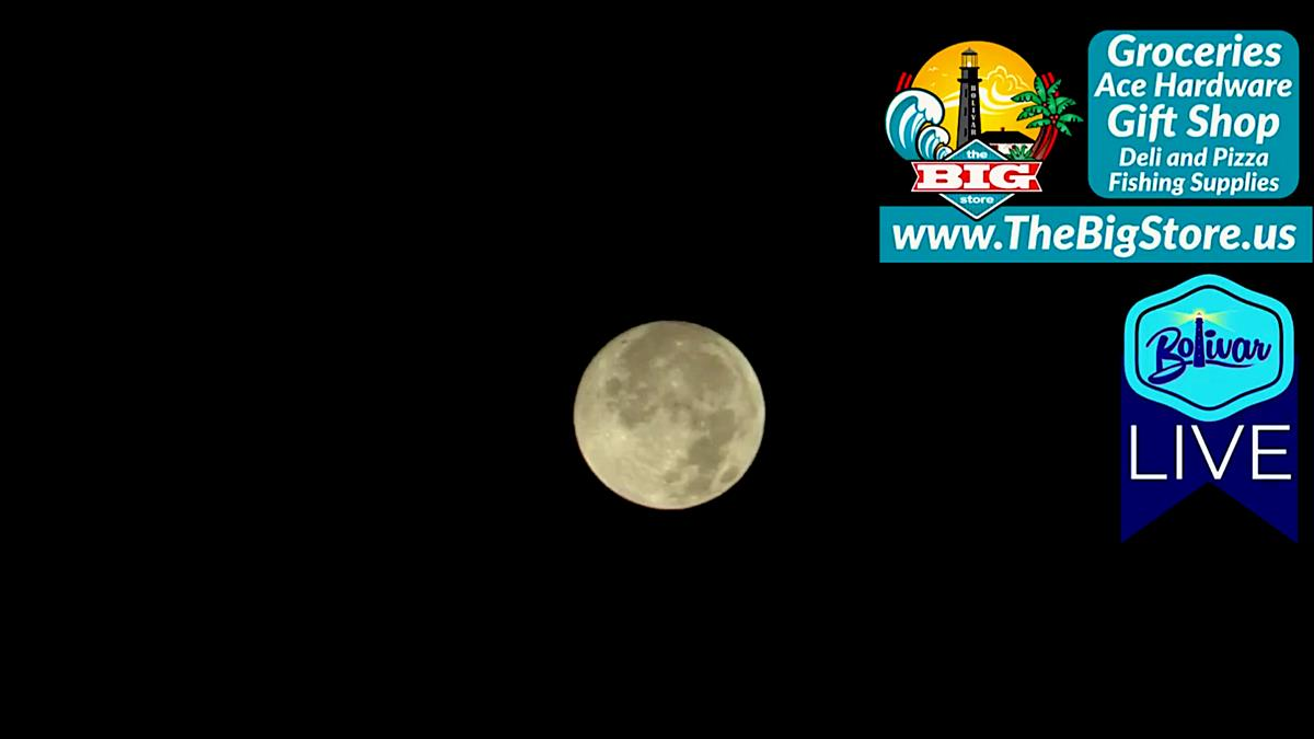 Last Full Moon Of 2020 Brightens Sky On Bolivar Peninsula.