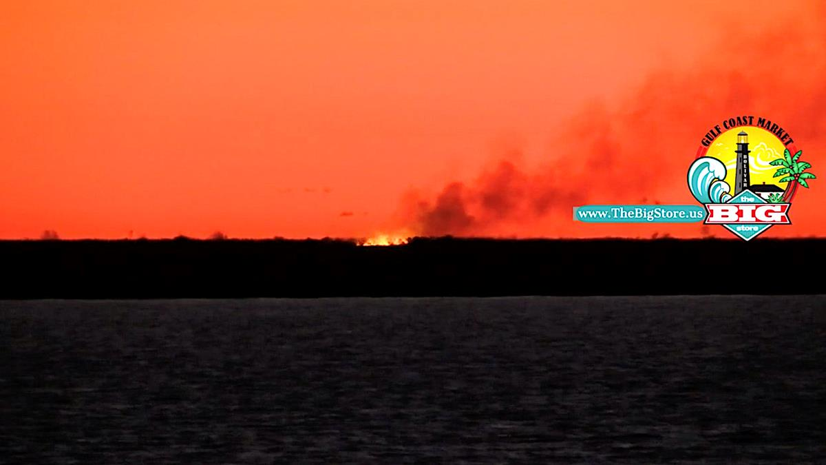 Marsh Fire Starts Close To Ratilion Rd Burns All Night On Bolivar Peninsula!