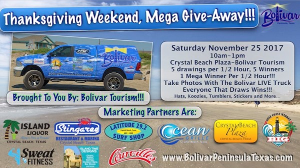 Thanksgiving Mega Give-away in Crystal Beach Texas.
