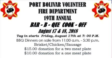 "<a href=""/Event-2018-8-17-Port-Bolivar-Volunteer-Fire-Departments-19Th-Annual-Bar-B-Que-Cook-Off"" itemprop=""url"">Port Bolivar Volunteer Fire Departments 19th Annual Bar-B-Que Cook-Off</a>"